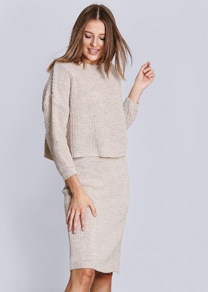 Strick-Kleid, beige