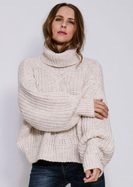XL Oversize Zopf-Pullover, beige