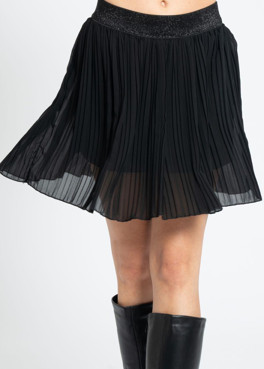 Mini Plissée-Rock mit Lurexbund, schwarz