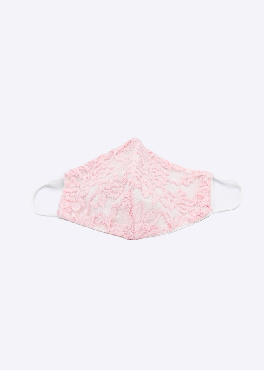Stoffmaske mit Spitze, rosa/offwhite