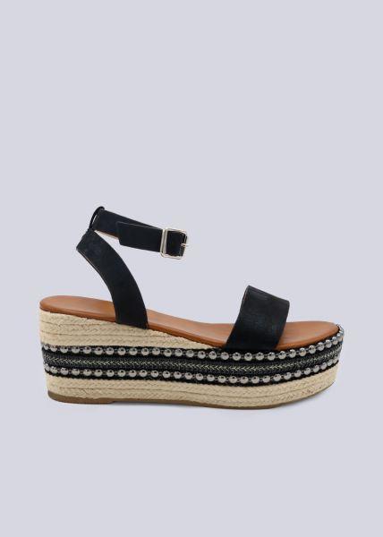 Plateau-Sandalen mit Nieten, schwarz