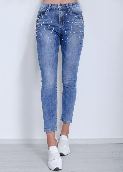 Skinny Midwaist Jeans mit Perlen