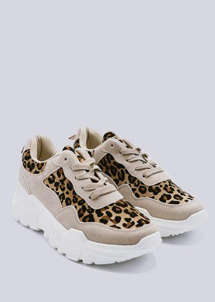 Leo Sneaker mit Plateau, beige