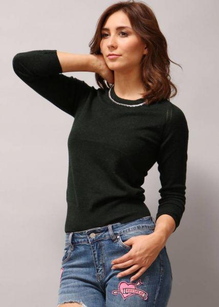 Pullover mit Strasssteinchen, dunkelgrün