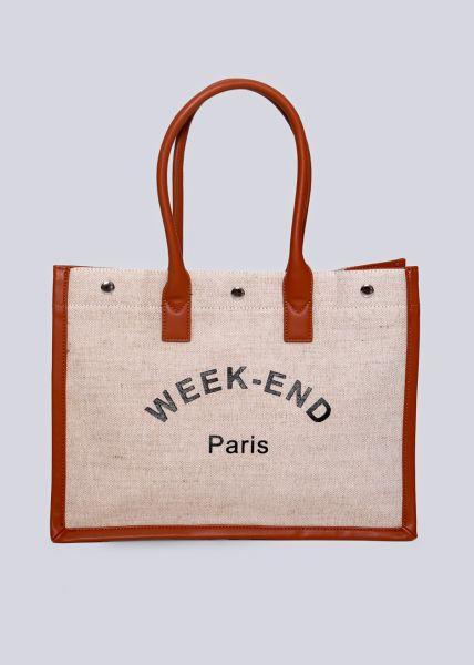 "Shopper ""WEEK-END PARIS "", beige"