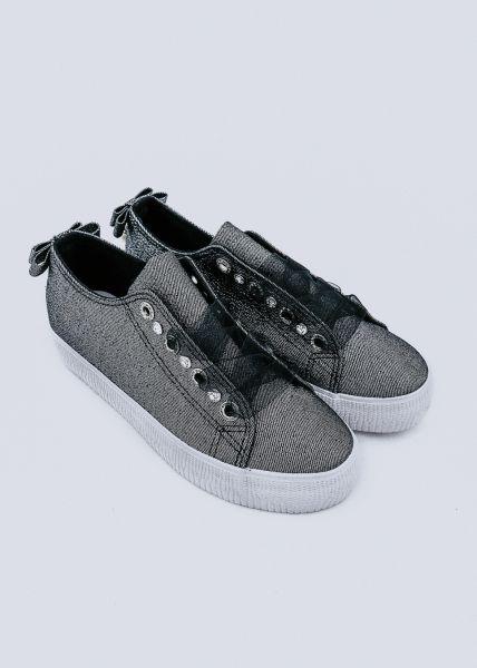 Glitzer Sneaker, schwarz/ silber