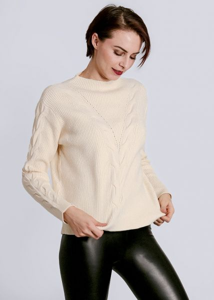 Pullover mit Zopfmuster, weiß