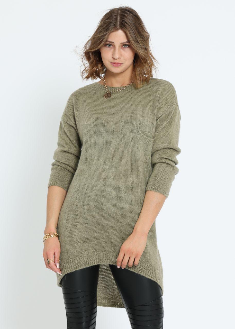 Langer Pullover mit Brusttasche, khaki