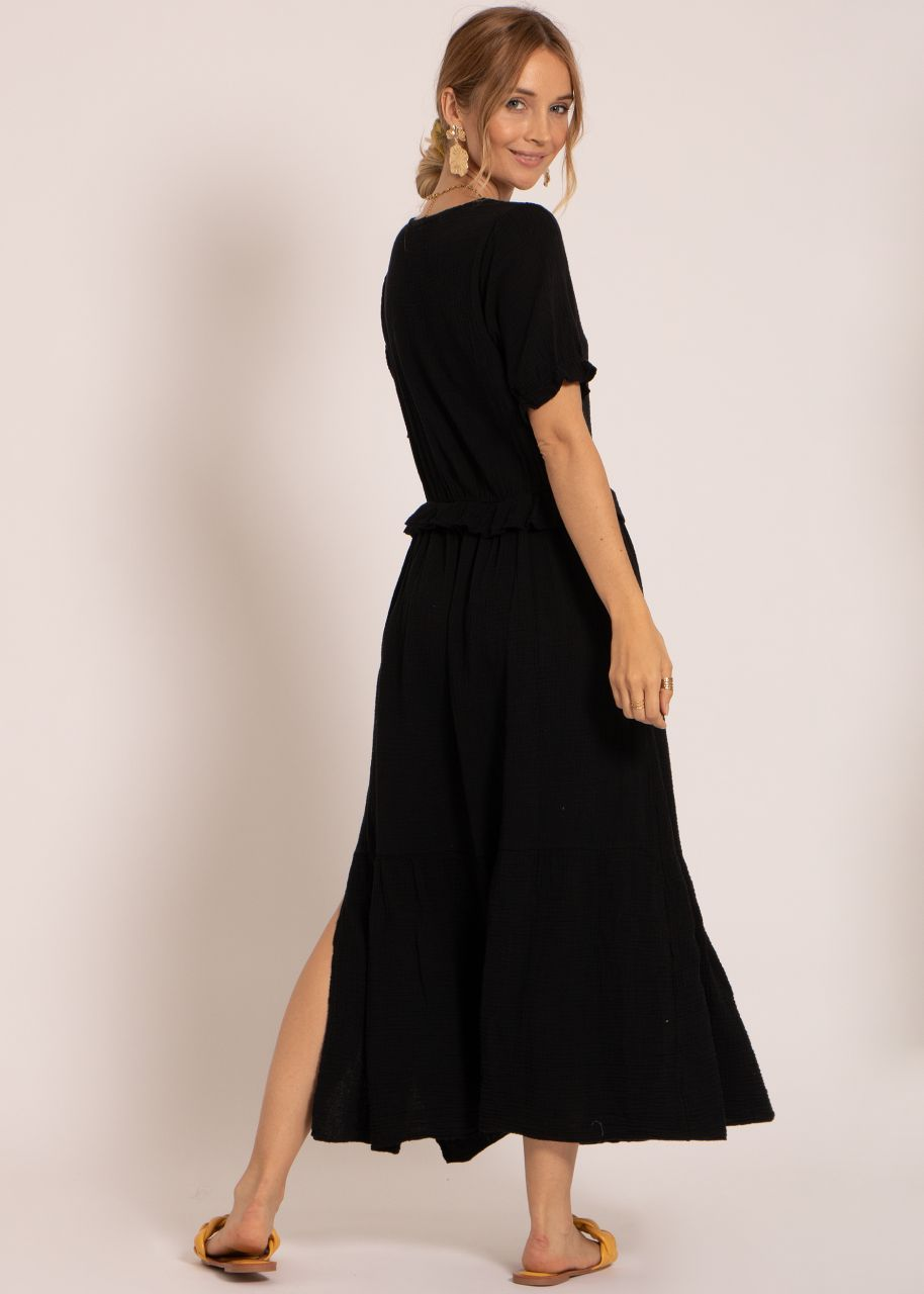 Musselin Maxi Kleid, schwarz