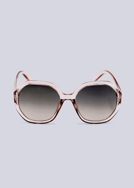 Große Sonnenbrille, transparent rosa