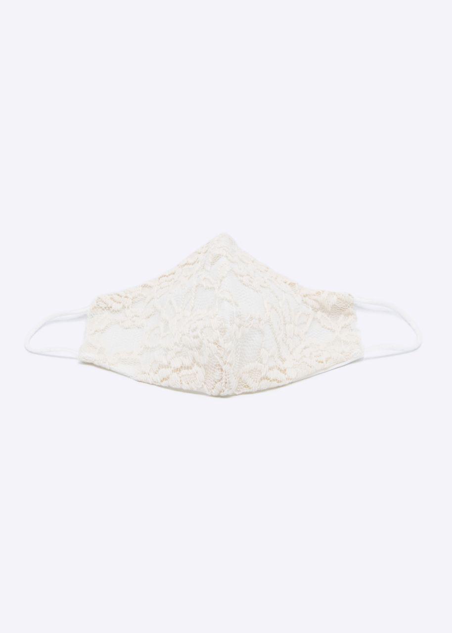 Stoffmaske mit Spitze, beige/weiß