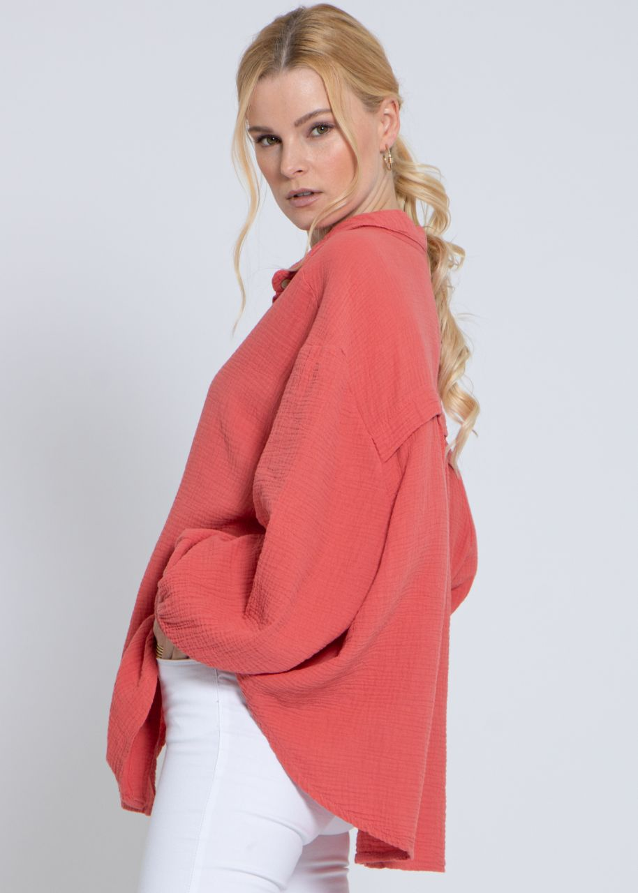 Ultra oversize Blusenhemd, kürzere Variante, hummerrot