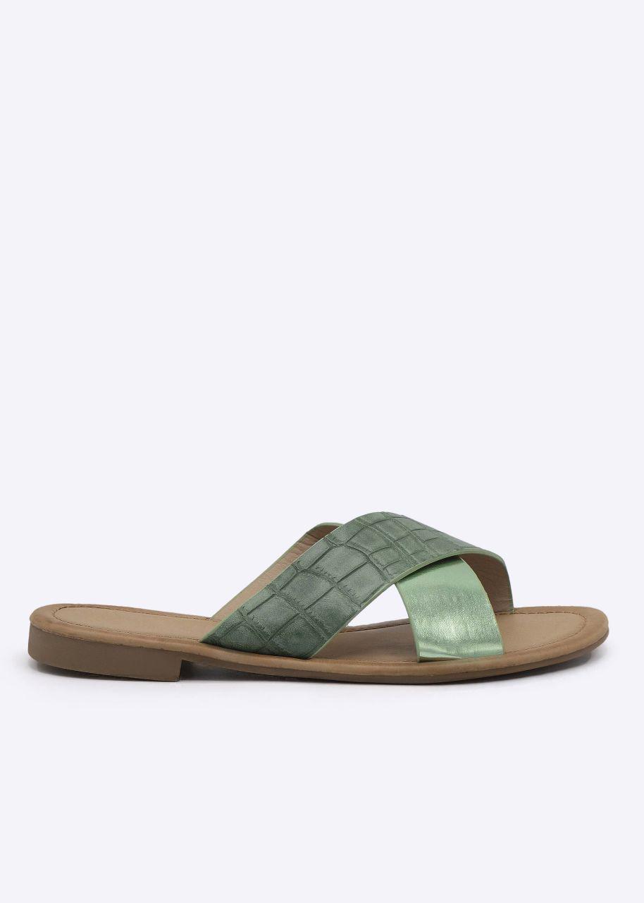 Slider in metallic und Kroko-Optik, grün