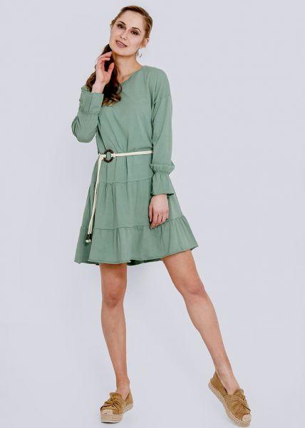 Jersey-Kleid mit Gürtel, grün