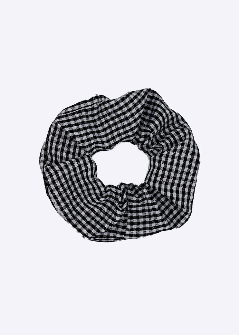 Scrunchie mit Karo-Muster, schwarz/weiß