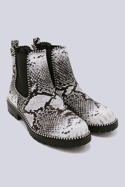 Chelsea-Boots mit kleinen Kugelnieten, Snake