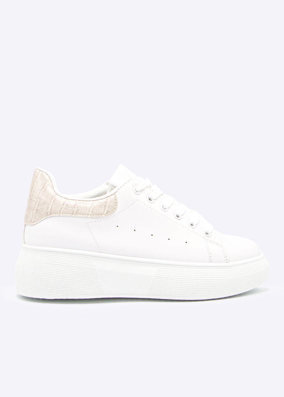 Plateau Sneaker mit beige Ferse, weiß