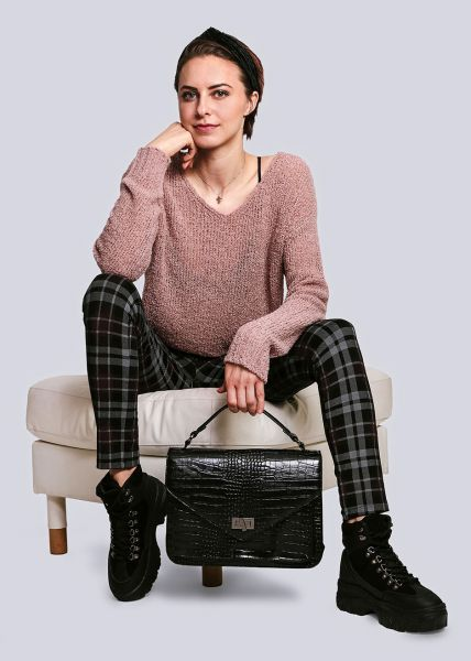 Pullover mit V-Ausschnitt, rosa