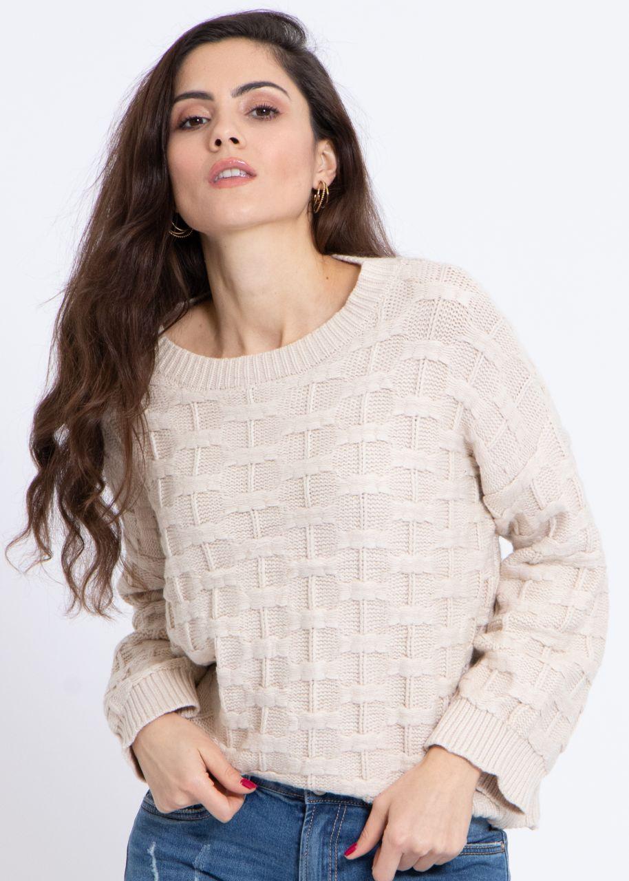 Pullover mit Muster, beige
