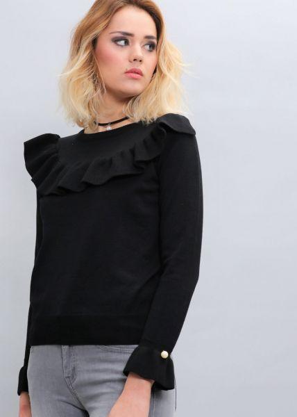 Pullover mit Volants, schwarz