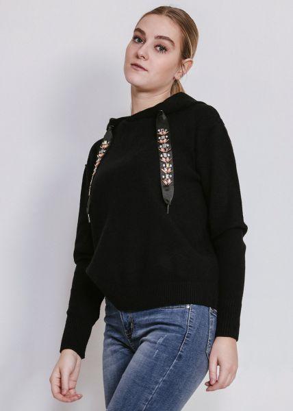 Hoodie mit bestickten Bändern, schwarz