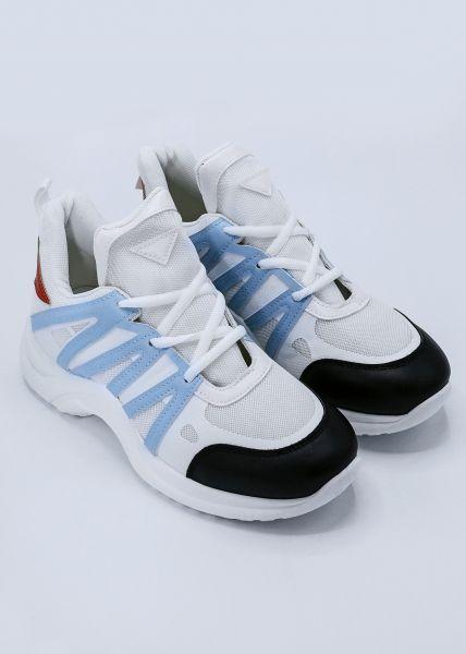 Sneaker mit farbigen Akzenten, weiß