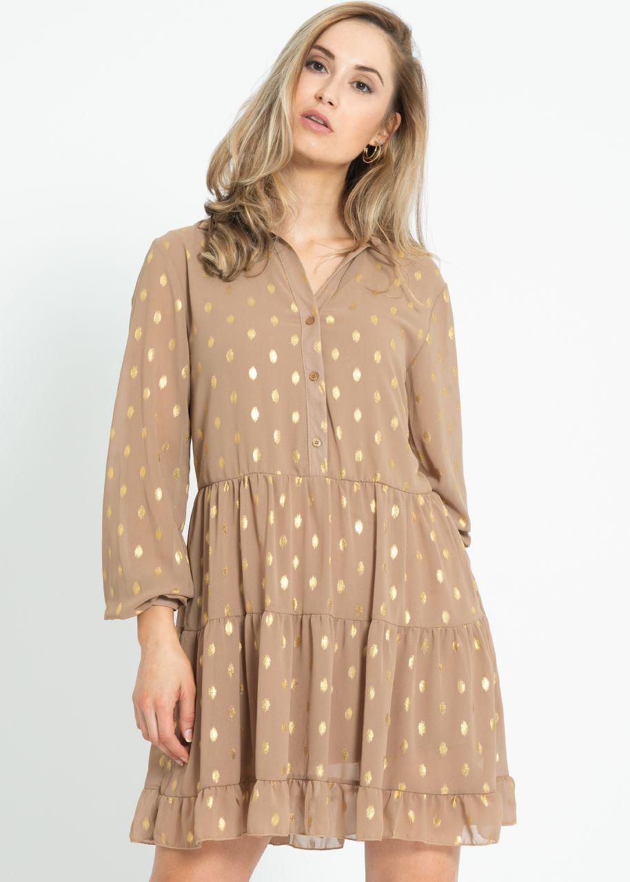 Hängerchenkleid mit gold Tupfen, beige