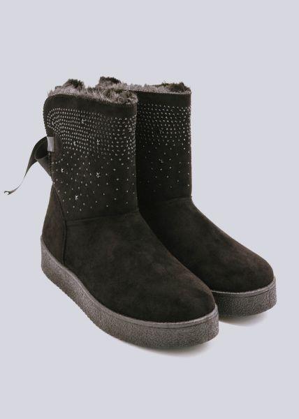 Fell-Boots mit kleinen Nieten, schwarz