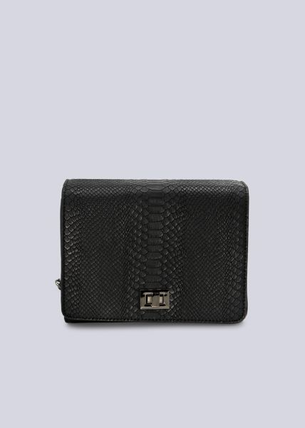 Überschlagtasche mit Snake-Prägung, schwarz