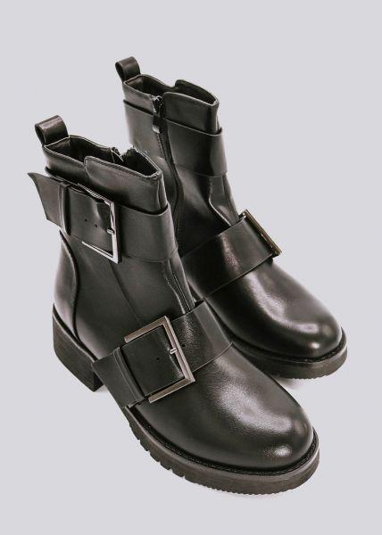 Boots mit eckigen Schnallen, schwarz