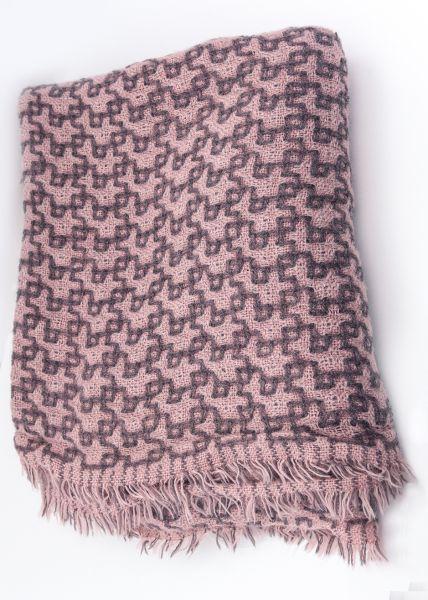 Hauchfeiner Schal mit Muster, rosa