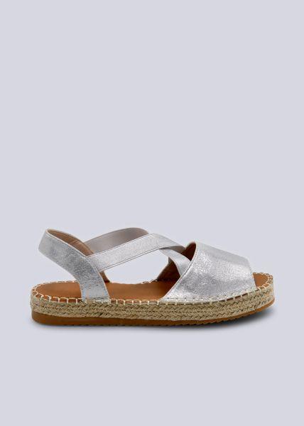 Sandalen mit Plateau, silber