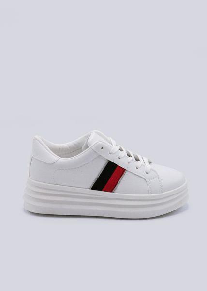 Plateau-Sneaker mit Ripsband, weiß