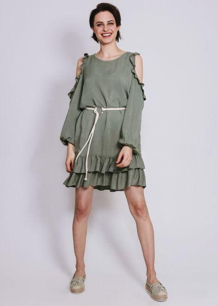 Kleid mit Rüschen und Cut-Outs, khaki