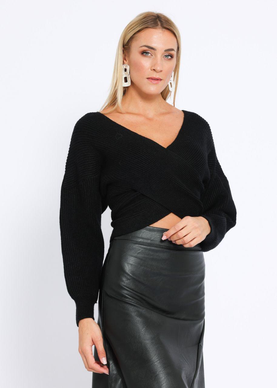 Crop-Pullover mit Wickeloptik, schwarz