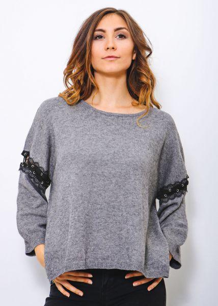 Oversize Pullover mit Spitze, grau