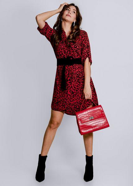 Tunika-Kleid mit Leo-Print, rot