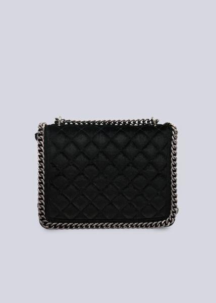 Samt-Tasche, gesteppt, schwarz
