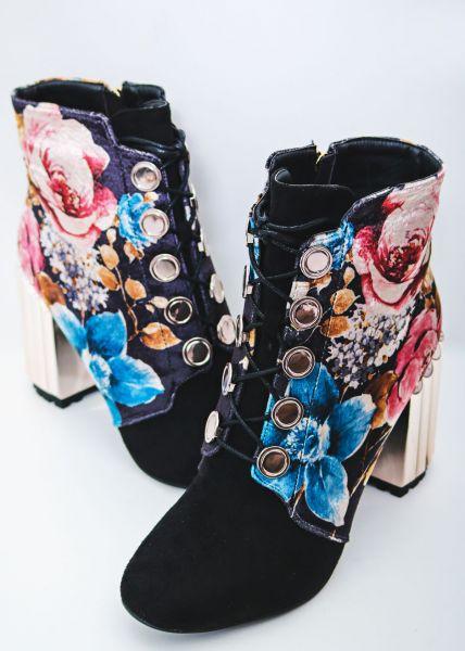 Stiefeletten mit Blumenmuster, schwarz