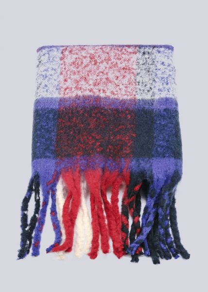 Karo-Schal mit Fransen, blau/rot/offwhite