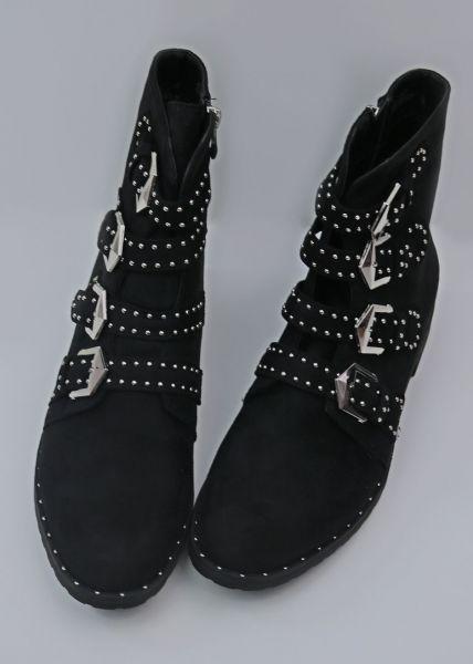 Velours Boots mit Schnallen, schwarz