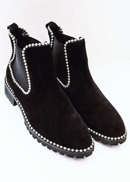 Leder-Booties mit Perlenpaspel, schwarz