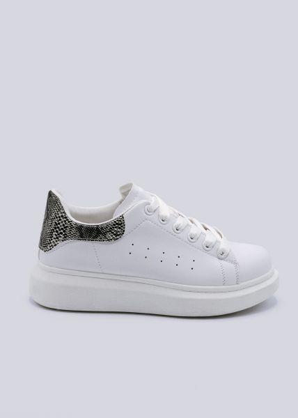 Plateau-Sneaker mit Snake, weiß