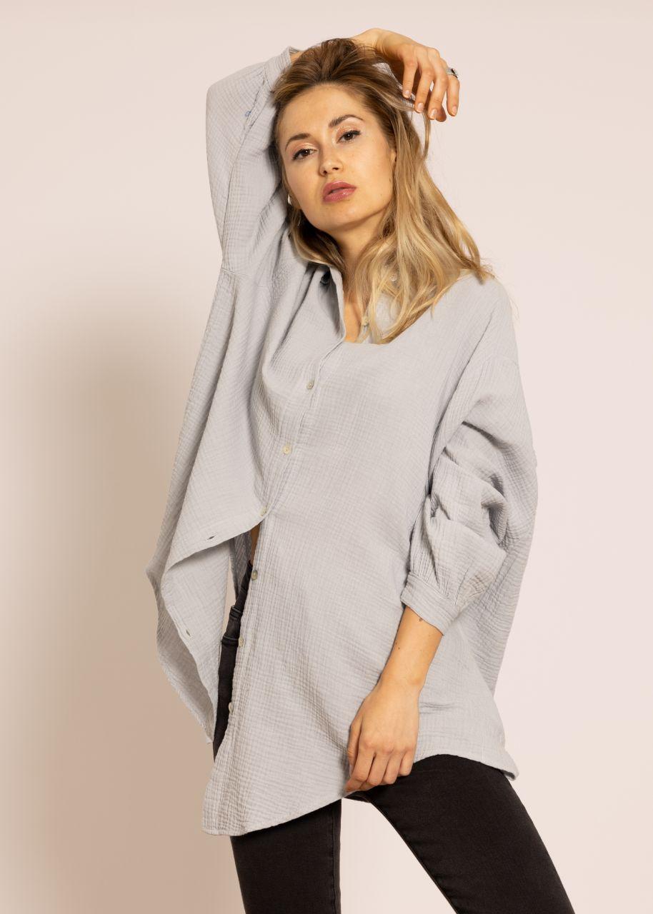 Ultra oversize Blusenhemd, grau