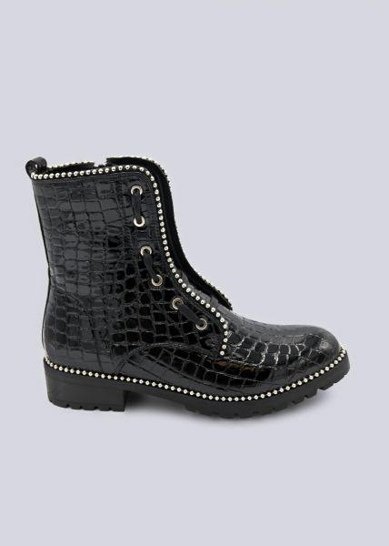 Kroko-Boots mit silbernen Perlchen, schwarz