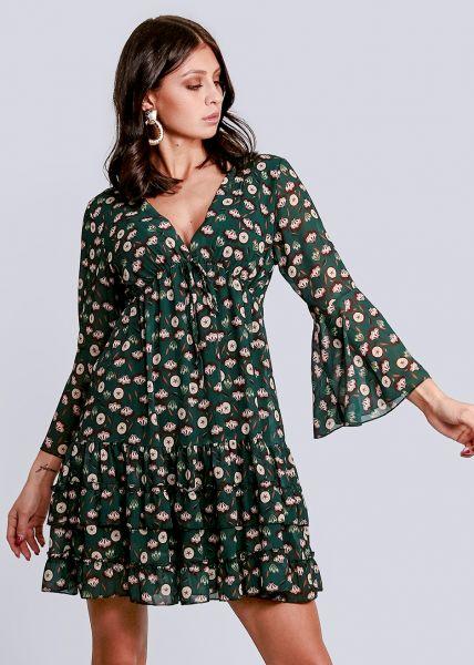 Hängerchenkleid mit tiefem V-Ausschnitt und Blumen-Print, grün