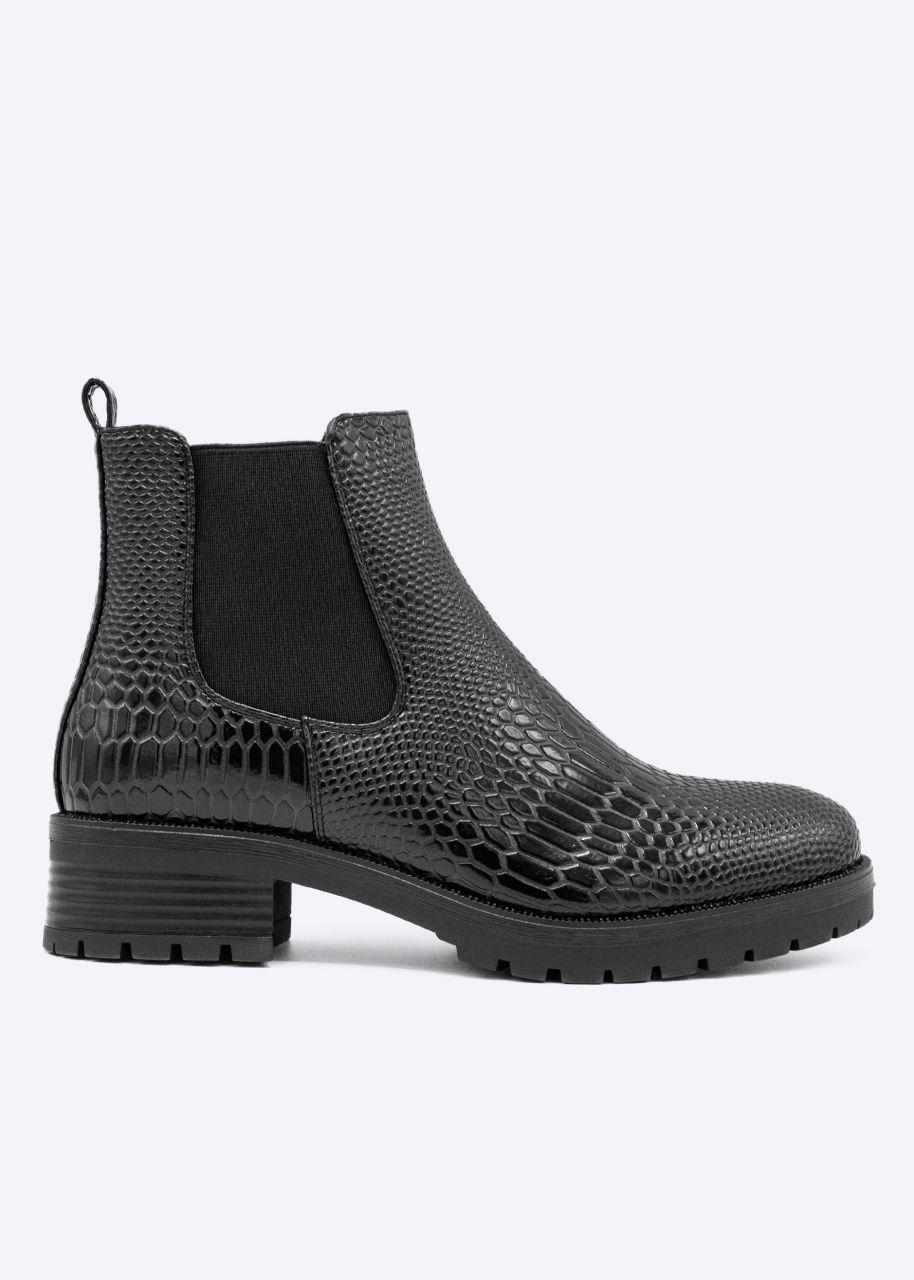 Chelsea-Boots mit Snake-Optik, schwarz