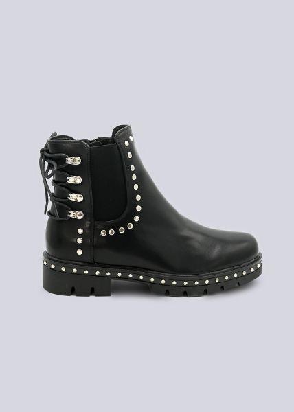 Chelsea-Boots mit Schnürung, schwarz