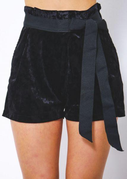 Samt-Shorts, schwarz