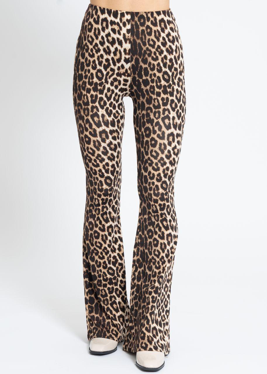 Highwaist Jersey-Pants mit Leo-Print, braun